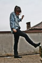 blue H&M Man shirt - black H&M pants - black Zara boots - black D&G glasses - bl