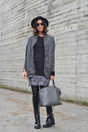 black Zara boots - heather gray matilda dress - dark gray H&M sweater