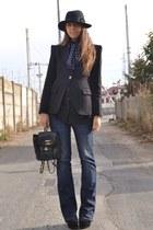 black bag vintage chanel bag - black boots asos boots - navy jeans H&M jeans