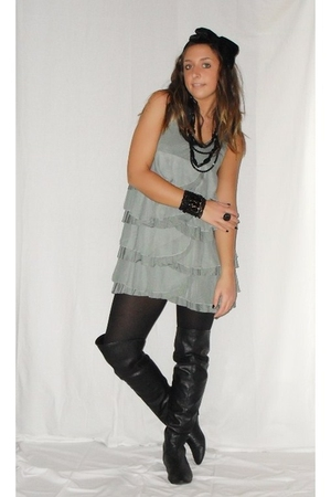 green H&M dress - black Calzedonia tights - black Zara boots - black h&m baby ac