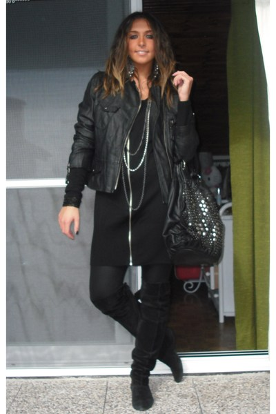 no brand jacket - H&M dress - no brand leggings - no brand boots - H&M accessori