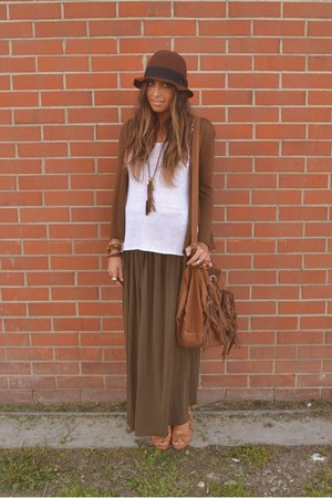 bronze bag Zara bag - bronze wedges H&amp;M wedges - brown maxi-skirt Zara skirt - w
