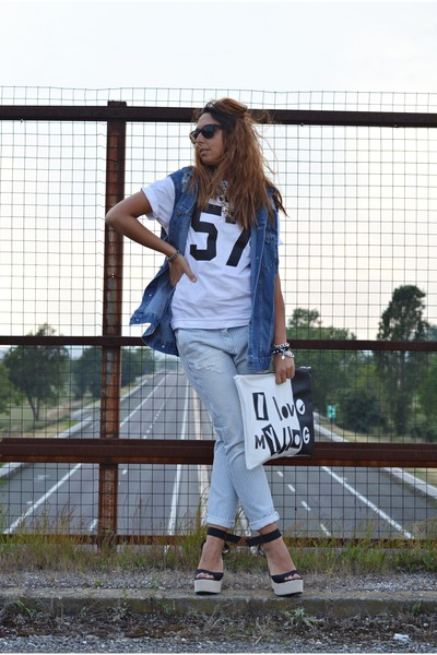 black Bershka sunglasses - white FRITLEX bag - ivory maryme88instagram t-shirt