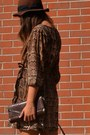 Brown-dress-h-m-dress-bronze-boots-urban-outfitters-boots-brown-hat-h-m-hat