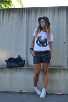 black balenciaga bag - black H&M shorts - white Converse sneakers
