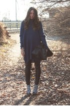 blue H&M sweater - black H&M pants - white Boohoo boots - black balenciaga bag -