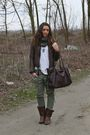 Brown-made-in-italy-jeans-white-h-m-shirt-green-zara-pants-brown-made-in-i