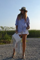 camel H&M hat - blue Queens Wardrobe shirt - white H&M shorts
