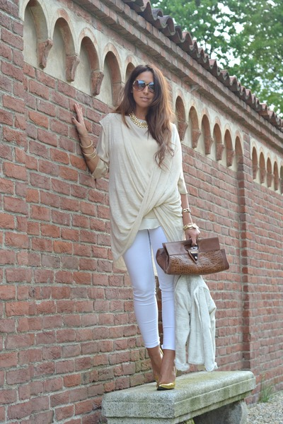 gold gold shoes PERSUNMALL heels - cream Zara jacket - brown vintage bag