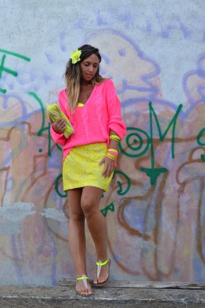 yellow H&amp;M bag - bubble gum H&amp;M sweater - yellow Forever 21 flats
