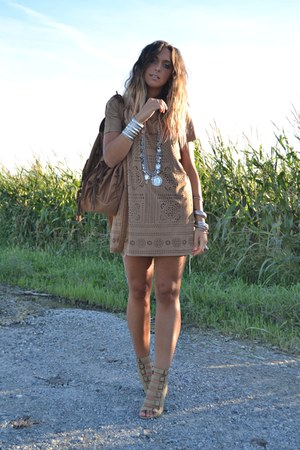 brown H&amp;M dress - brown Zara bag - silver vintage necklace - camel BLANCO wedges