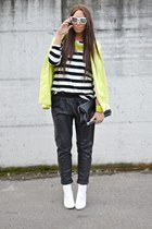 black Zara bag - chartreuse H&M blazer - white H&M sunglasses
