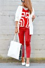 White-bershka-bag-white-h-m-wedges-red-river-island-t-shirt-red-zara-pants