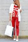 White-bershka-bag-white-h-m-wedges-red-river-island-t-shirt-red-zara-pants