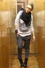 White-zara-t-shirt-gray-zara-pants-black-silvian-heach-boots-black-h-m-sca