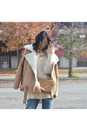 bronze OASAP jacket - beige H&M sweater