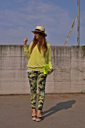 camel H&amp;M hat - yellow Zara sweater - yellow UrbanOG bag - chartreuse Zara pants