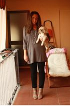 gray H&M shirt - black Zara pants - gray made in Marrakech shoes - gray H&M acce