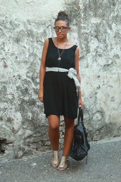 black H&M dress - gray H&M shoes - black balenciaga purse - gray no brand belt -
