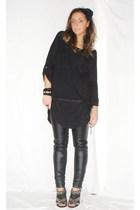 black Zara shirt - black Zara pants - black Zara shoes - black H&M accessories -
