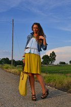 aquamarine Zara necklace - yellow romwe dress - blue H&M jacket