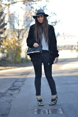 black Topshop coat - silver Zara shoes - black H&amp;M jeans - heather gray H&amp;M hat
