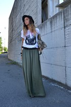 olive green Zara skirt - black H&M hat - dark khaki balenciaga bag