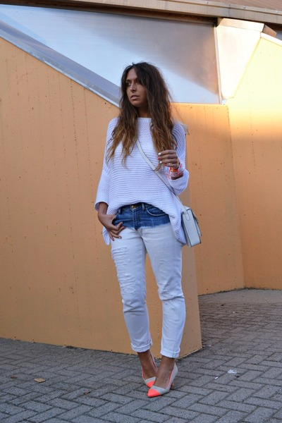 light orange H&amp;M shoes - white Zara jeans - white Zara sweater - white H&amp;M bag