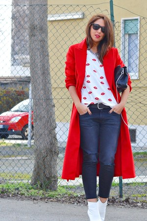 red Sheinside coat - white H&amp;M boots - dark gray Zara jeans - black Zara bag