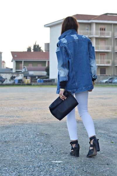 blue asos jacket - black asos boots - black Zara bag - white Zara pants