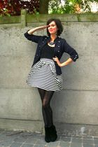 white skirt - blue jacket - black tights - black boots - blue necklace