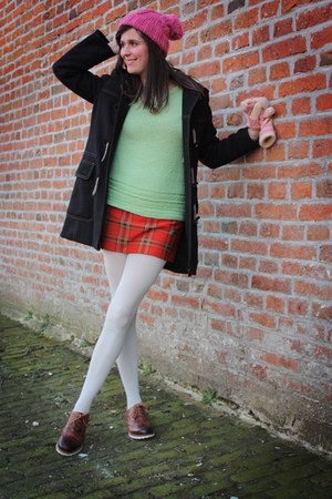 red skirt - dark brown shoes - black coat - bubble gum hat - lime green sweater