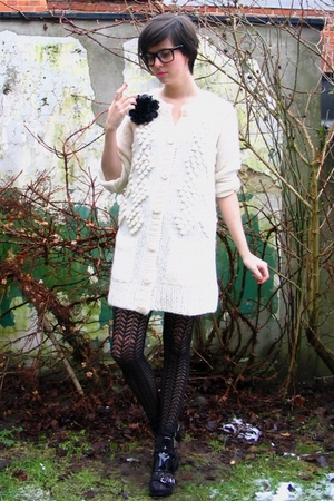 white cardigan - black accessories - black shoes - black tights