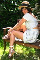 white dress - white shoes - yellow hat