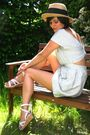White-dress-white-shoes-yellow-hat
