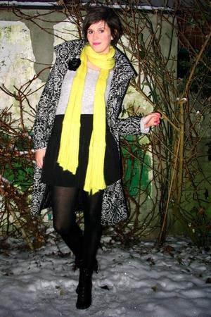 black coat - black boots - black skirt - black accessories - gray sweater - yell