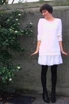 white H&M sweater - white Pimkie dress - black H&M accessories - black Pimkie bo