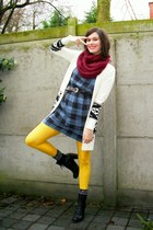 blue dress - cream cardigan - gold tights - black boots - maroon scarf - dark br