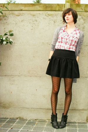 gray Pimkie cardigan - red Pimkie blouse - black Pimkie skirt - gray Pimkie boot