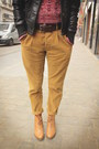 Mustard-pants-black-jacket-brick-red-sweater