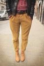 Mustard-pants-black-jacket-brick-red-sweater