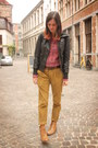 Black-jacket-brick-red-sweater-mustard-pants
