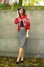 Ruby-red-cardigan-charcoal-gray-skirt-cream-accessories-black-shoes-blac