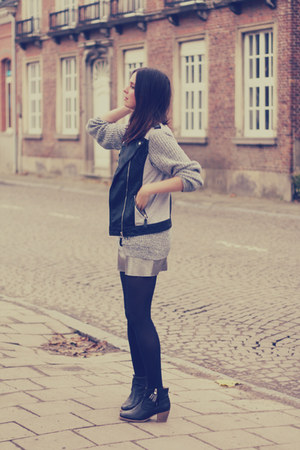 silver H&M skirt - motorcycle Forever 21 vest