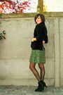 Black-blazer-green-dress-brown-belt-black-shoes-gold-necklace