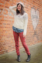 red pants - dark gray boots - ivory sweater