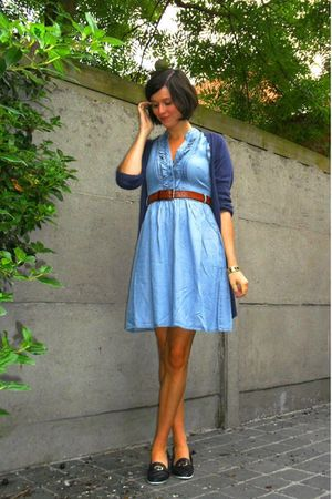 blue dress - blue shoes - brown belt - blue cardigan - gold accessories