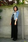 Black-dress-black-boots-blue-jacket-blue-necklace-brown-belt