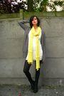 White-dress-yellow-scarf-beige-coat-black-boots-gray-cardigan
