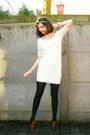 Ivory-dress-black-tights-dark-brown-shoes-ivory-accessories-black-blazer